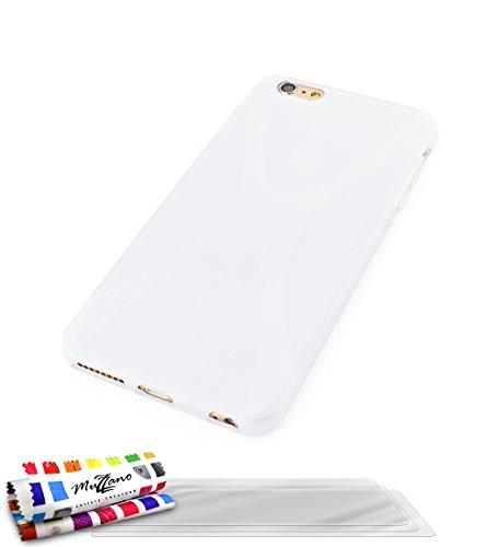 Ultraflache weiche Schutzhülle APPLE IPHONE 6 PLUS [Le X Premium] [Schwarz] von MUZZANO + 3 Display-Schutzfolien UltraClear + STIFT und MICROFASERTUCH MUZZANO® GRATIS - Das ULTIMATIVE, ELEGANTE UND LA Weiss + 3 Displayschutzfolien