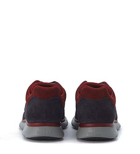 Sneaker Hogan Traditional 2015 in camoscio nero e rosso con tessuto Grigio