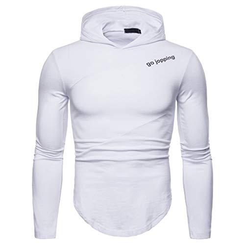 Xmiral Herren Hoodie Tops Unregelmäßiger Saum Mit Kapuze Patchwork-Buchstabe Sweatshirt Einfarbig Pullover(XL,C-Weiß)