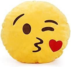 BodyInvestments EmojiVibes Emoji Smiley Thick Plush Pillow Round Cushion (Throwing Kiss)