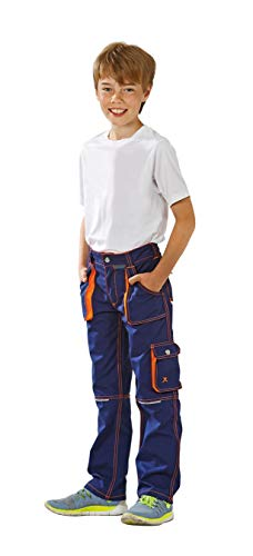 Planam Junior Bundhose, bleumarine/orange, 122/128