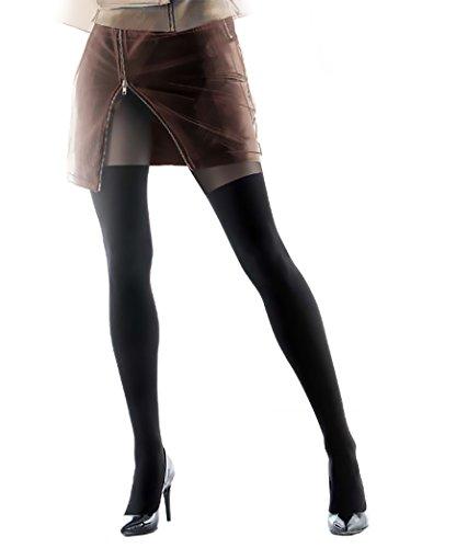Gatta Girl Up 25 - 20/60den gemusterte semi blickdichte Strumpfhose im Overkneelook - Größe 3-M - Schwarz-Golden