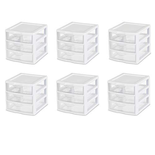 Sterilite 20439002 Schubladenschrank, mittelgroß mit 3 Schubladen 3 Schubladen Small weiß -