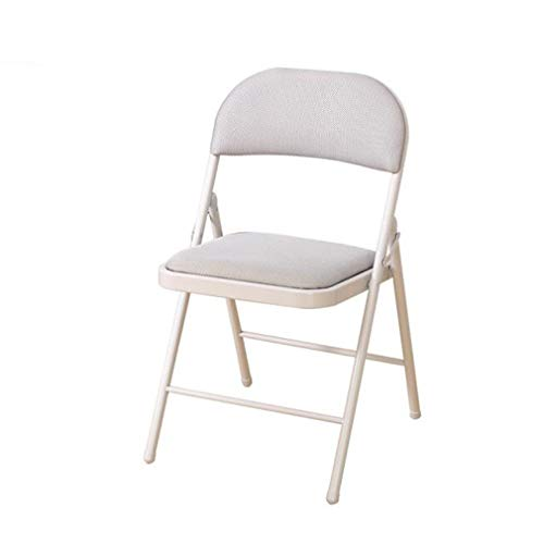 Wgxx sedie pieghevoli deluxe tessuto imbottito sedia pieghevole -nuova telaio in metallo pieghevole home office sedia del personale maglia nera (colore : gray)