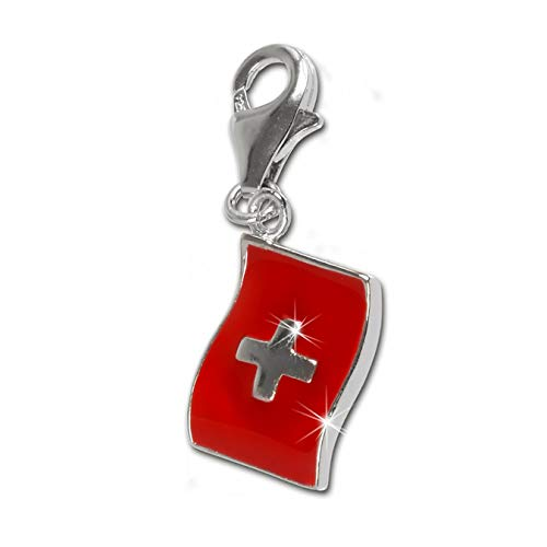 SilberDream Charm Schmuck 925 Echt Silber Anhänger rot Flagge Schweiz FC703