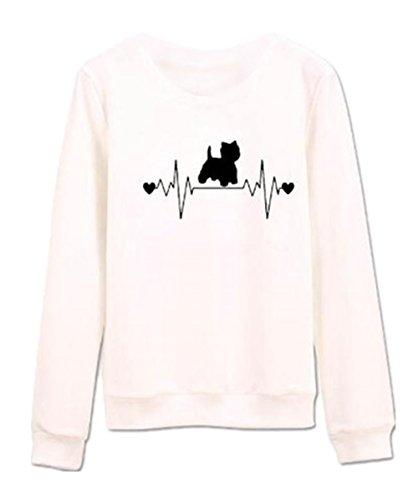 AILIENT Donna Gatto Stampa Felpa Casuale Sciolto Maniche Lunghe Pullover Girocollo Semplice Design Maglietta Tops Sweatshirt Pullover Autunno Invernale Black