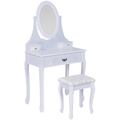 Jalano Schminktisch Napoli weiß Frisiertisch Set Schminkkommode mit Spiegel schwenkbar inkl Hocker