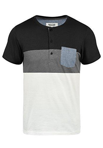 Baumwolle Tipped Pullover Mit V-ausschnitt (Indicode Albert Herren T-Shirt Kurzarm Shirt Mit Grandad-Ausschnitt Aus 100% Baumwolle, Größe:L, Farbe:Black (999))