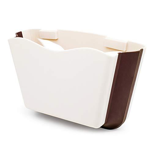 Cxp Boutiques Umweltschutz Auto-faltender Abfalleimer-Auto-Lagerbehälter-beige Schwarzes Bequem (Color : White)