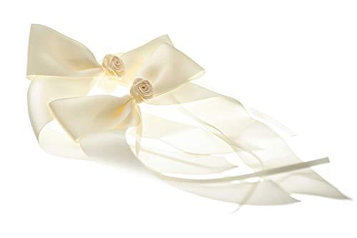 FlexiStore 10 Antennenschleifen mit Rose Deko Schleifen Hochzeit Auto - ASR-Beige (Auto Antenne Montieren)