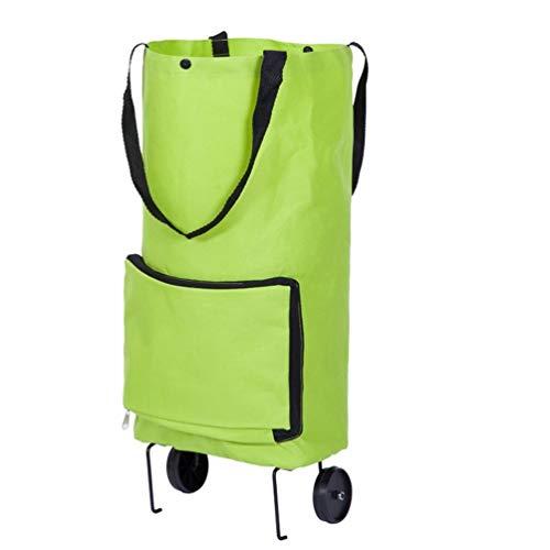 zanasta Faltbarer Einkaufstrolley, Handwagen/Einkaufswagen mit Reißverschluss/Faltbare Einkaufstasche (Grün)