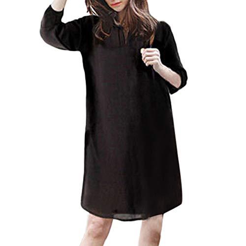 Geili Damen Oversized Baumwolle Leinen Kleider Basic 1/2 Arm Einfarbige Knielang Kleid Loose Fit Große Größen Shirtkleid Hemdkleid Lang T Shirt
