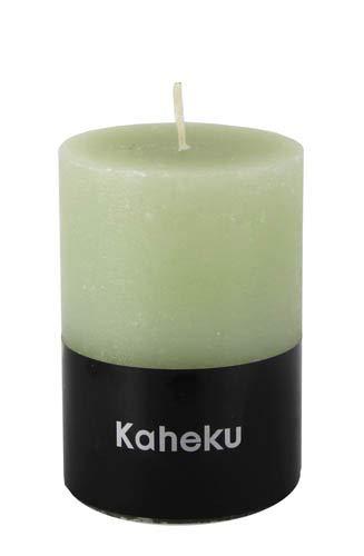 Kaheku Rustik Stumpenkerze Cylinderkerze grün Salbei durchgefärbt d7 h10 cm