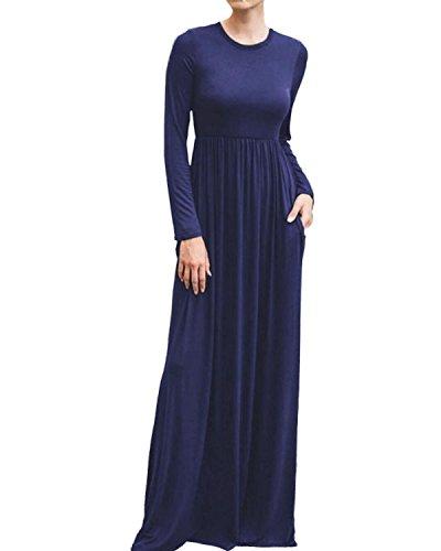 StyleDome Maglietta Donna Vestito Manica Lunga Collo V Abito Moda Casual Autunno Maglia Elegante Loose Tops Blu 803365