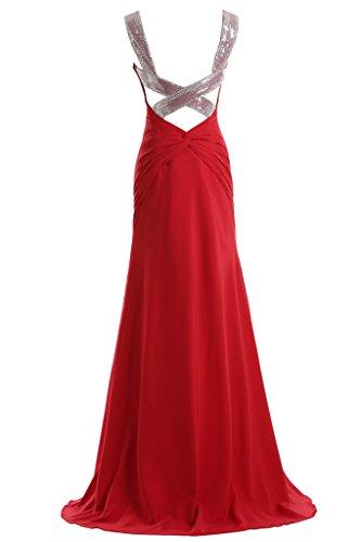 TOSKANA BRAUT Damen Zwei-Traeger Chiffon Abendkleider Lang Brautjungfern Party Ballkleider Royal Blau