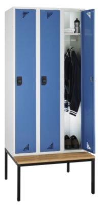 EUROKRAFT Garderobenschrank mit untergebauter Sitzbank - 3 Abteile, Breite 900 mm Türen brillantblau - Garderobe Garderobenbank Garderobenbänke Garderobenschrank Kleiderschrank Kleiderspind Lochblechspind Schrank Spind Umkleideschrank Unterkunftschrank