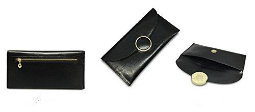 Xinmaoyuan Portafogli donna semplice olio retrò cera anello in pelle Ladies Wallet busta lunga Wallet borsa a mano,Nero Nero