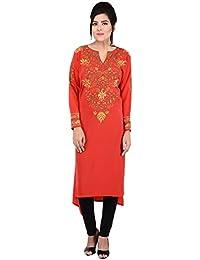 Antarnaad Women's Crepe Semi-Stitched Kurta (Red)