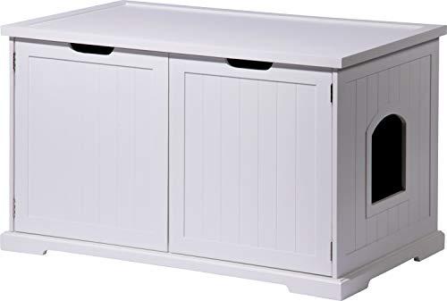 """dobar 35263 Großer Designer-Katzenschrank \""""Mohrle XL\"""" mit Schublade, 95 x 54 x 58 cm, weiß"""