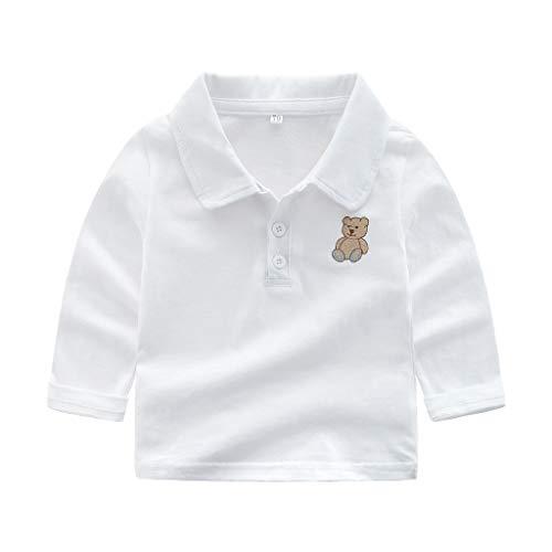 Huhu833 Baby Sweatshirts, Kleinkind Kinder Baby Jungen Kleidung Button Up Kragen Langarm T-Shirt Cartoon Bär Polo Shirt T-Shirt (Weiß, 3-6Monate)