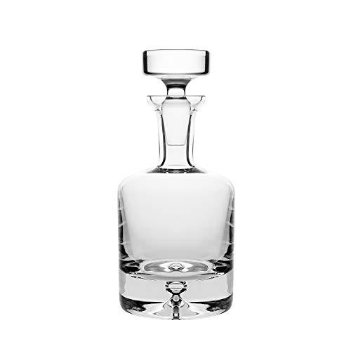 Whisky-Dekanter aus Glas, ca. 250 ml Barski Dekanter für Whisky, rund, mit Stopper, mit Blasenboden, hergestellt in Europa Cut Glas Whiskey
