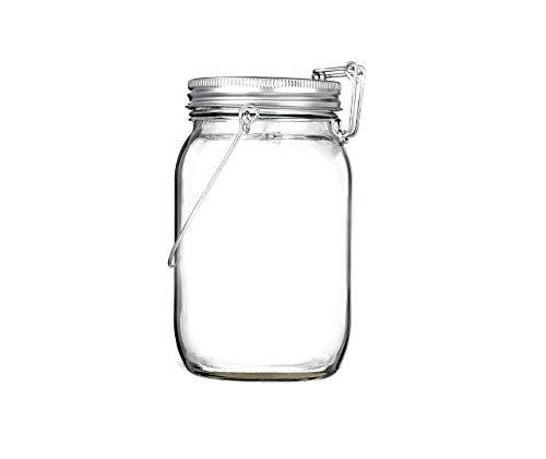 CasaBasics Sun Jar – Lampada Lanterna Solare in Barattolo in vetro da Conserva con Gancio e 4 Luci LED | Uso Interno ed Esterno