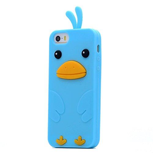 iPhone 5 / 5S / SE Custodia Cover , Keyihan Morbida Silicone Motivo Moda 3D Protettiva Case per Apple iPhone 5/5S/SE (Gatto verde) Azzurro