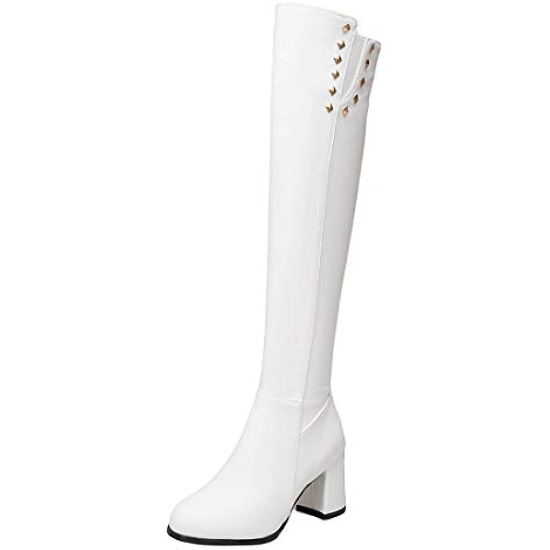 YE Antidérapant Chaussure Studded Shoes Shoes Studded Bottes Chaude Femme Cuissardes Longue à Talon Haut Bloc Chunky Heels Zip... - B07H8CBNWG - 44e04c