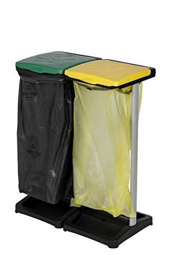 *Kreher Müllsackständer aus Kunststoff mit Deckel, 2tlg. Hält max. 2 Säcke mit ca. 110 Liter Volumen. Mit Fach für Müllsäcke. Preiswert und praktisch.*