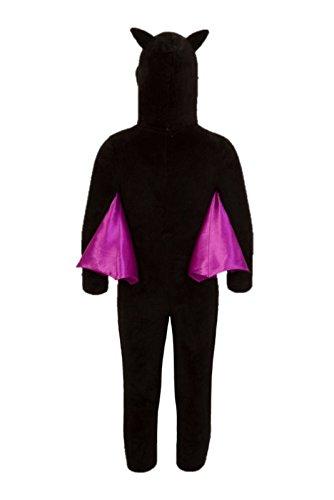 Kinder Fledermaus Kostüm Overall Halloween Kostüm Outfit Nachtwäsche Kinder - Schwarz, 122-128 (Fledermaus Gesicht Kostüm)