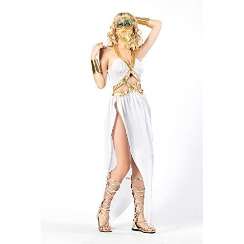 HOOLAZA Damen Weiß Altgriechische Athene Göttin Kostüm Halfter Kleid