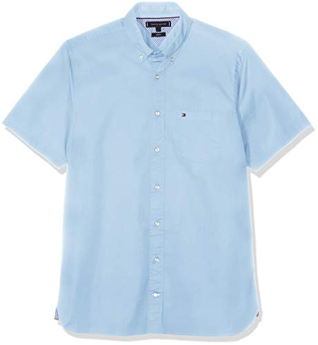 Stretch-baumwolle Hemd (Tommy Hilfiger Herren Stretch POPLIN Shirt S/S Freizeithemd, Blau (Light Blue 413), 44 (Herstellergröße: XL))