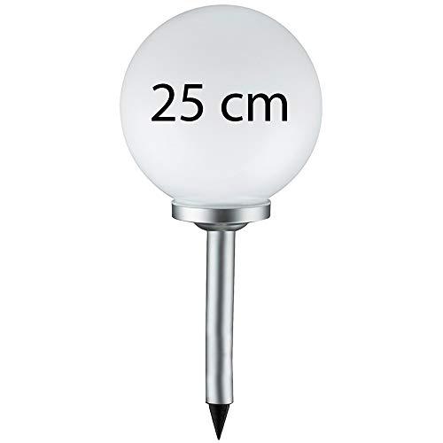 Grafner® Solarkugel Ø25 cm | LED | mit Erdspieß | Wegleuchte Gartenlampe Kugelleuchte LED-Leuchte Gartenleuchte Solar Kugel