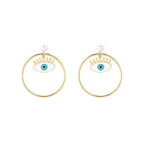ASVNDD Augentropfen Ohrringe für Frauen Trend türkische Blaue Augen übertrieben Persönlichkeit Creolen Schmuck