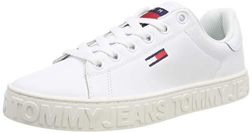Hilfiger Denim Cool Tommy Jeans Sneaker, Scarpe da Ginnastica Basse Donna, Bianco (White 100), 40 EU