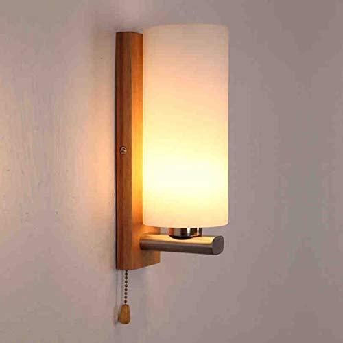 MOM Kreative Persönlichkeit Wandleuchte, Japanisch Skandinavisch Einfacher Schalter mit Massivholz Einzelnen Kopflampe Schlafzimmer Nachttischlampe Gang Wandleuchte Treppenlichter Dekoration Lampe Br -