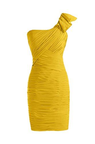 TOSKANA BRAUT Einfach Ein-Schulter Abendkleider Kurz Chiffon Brautjungfern Party Cocktailkleider Gold