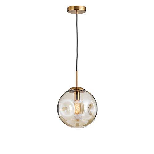 HangRay Zeitgenössische Glaspendelleuchte, Lrregular sphärischer Entwurfs-Lampenschirm, justierbarer hängender Draht, Ideal für Hauptbüro-Schlafzimmer-Kaffeestube,Amber -