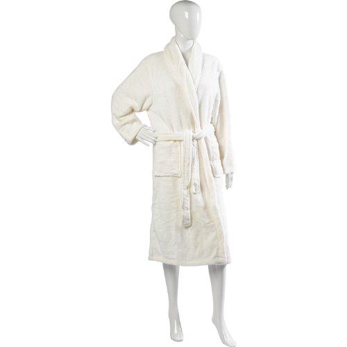 Womens Luxuriousy Soft Coral Fleece longtemps pleine longueur Robe de bain, s'habiller robe avec ceinture et poches Crème