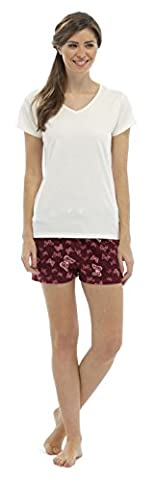 Ladies V-Neck Jersey Top & Butterfly Print Shorts M/L 12-14
