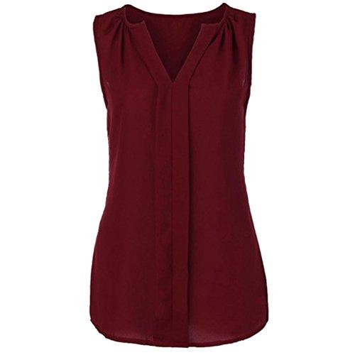 SEWORLD 2018 Damen Mode Sommer Damen Übergröße Chiffon Weste Shirt Ärmellose Bluse Casual Tank Tops T-Shirt(Weinrot2,EU-46/CN-2XL)