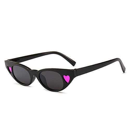 Yangjing-hl Sonnenbrille Trend kleine Box cat Eye Sonnenbrille Mode Bunte herzförmige Sonnenbrille schwarzer Rahmen rosa Herz