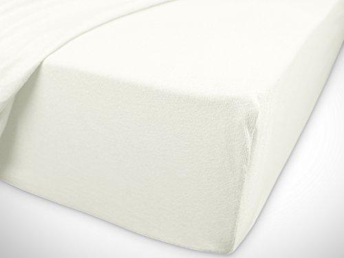 npluseins klassisches Jersey Spannbetttuch - erhältlich in 34 modernen Farben und 6 Verschiedenen Größen - 100% Baumwolle, 70 x 140 cm, Perlmutt - 7