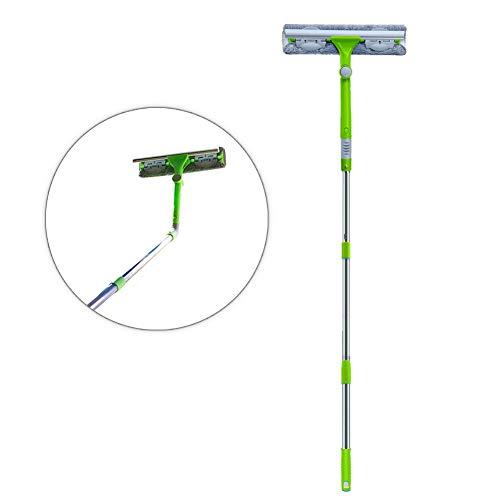IKU Télescopique 3-en-1 Nettoyeur de Raclette Vitre (145cm) avec Lave-vitres Manche Extensible & Chiffon en Microfibre & Raclette à 180° & Brosse à Rainure pour Fenêtres/Porte/Douche/Voiture (Vert)