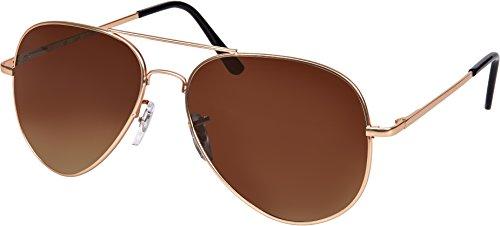 Balinco Hochwertige Pilotenbrille Sonnenbrille 70er Jahre Herren & Damen Sunglasses Fliegerbrille verspiegelt (Rosé Gold/Matt-Brown)