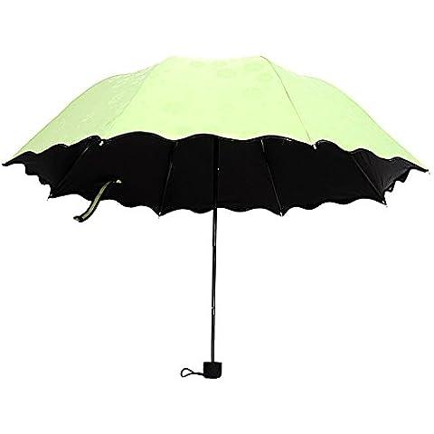 ToxTech Lucha contra el sol paraguas, mini portátil de bolsillo de protección solar del paraguas de vinilo flor de revestimiento en húmedo mágica del paraguas
