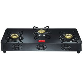 Prestige Marvel Three Brass Burners Gas Table with Glass Top