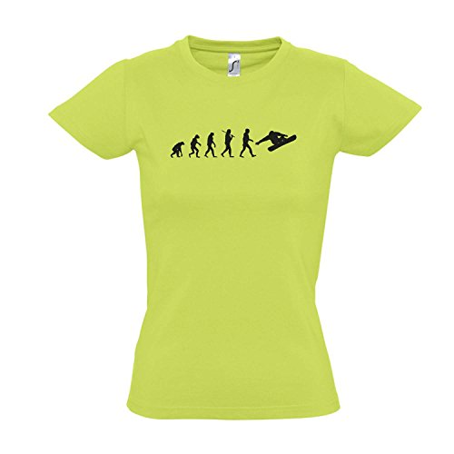 Damen T-Shirt - EVOLUTION - Snowboard Sport FUN KULT SHIRT S-XXL Apple green - schwarz