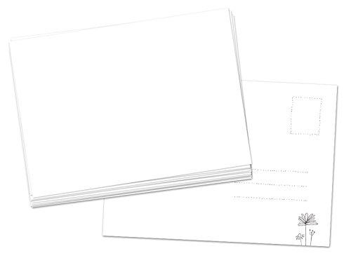 50 Blanko Postkarten weiß im A6 Format, 300g Karton zum selbst beschreiben, leere DIY Karten zum Selbstgestalten und Selbstbedrucken für Kinder und Erwachsene, umweltfreundlich aus Recylingpapier