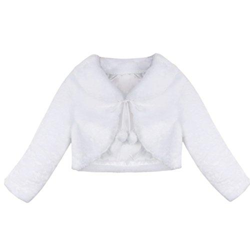 Tiaobug Kinder Mädchen Pelz Bolero Langarm Schulterjacke Strick Jacke Winter Mantel Weste Jacke Shirt Top Bolero Weiß 110-116 (Großes Mädchen Winter Mäntel Größe 18)